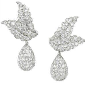 Lot 154 - Pair of Platinum and Diamond Ear Pendants