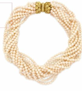 Lot 136 - Coral Bead and Gold Necklace