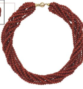 Red Coral Bead and Gold Necklace