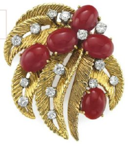 Lot 148 - Coral, Diamond and Gold Brooch