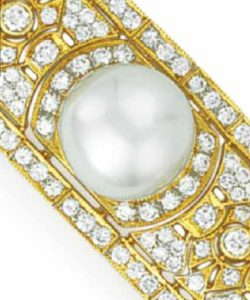 Lot 130 - A section of the Diamond and Button Pearl Bracelet enlarged
