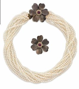 Lot 143 - Set of Mother-of-Pearl, Diamond and Seed Pearl Jewelry