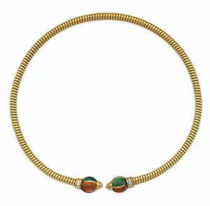 "Lot 659 - Bulgari ""Tubogas"" Diamond and Multi-gemstone Choker Necklace"