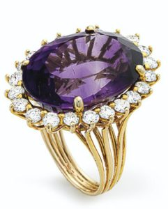 Lot 684 - Amethyst and Diamond Ring