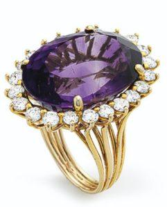 Lot 684 - Amethyst and Diamond Ring