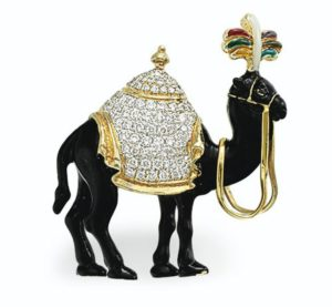 Lot 686 - Enamel and Diamond Camel Brooch