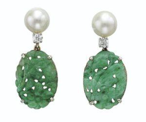 Lot 676 - Jade Diamond and Cultured Pearl Earrings