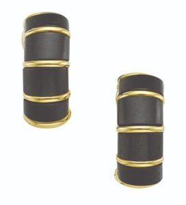 Lot 663 - Gold And Steel Half Hoop Earrings