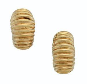 Lot 694 - Sculpted Gold Earrings