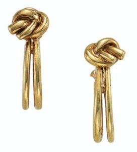 Lot 705 - Aldo Cipullo Knot Hoop Earrings
