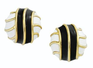 Lot 674 - Tiffany & Co. Enamel & Gold Earrings