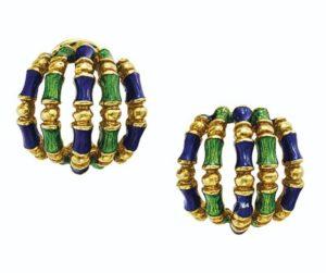 Lot 687 - Enamel and Gold Earrings