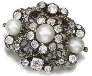 Lot 45- Natural Pearl and Diamond Brooch, Second Half of 19th-Century