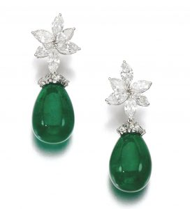 Lot 163 - Pair of Emerald and Diamond Earrings
