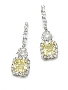 Lot 159 - Pair of Fancy Light Yellow Diamond Earrings