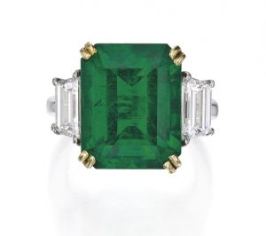 Lot 78 - Two Color Gold, Emerald and Diamond Ring