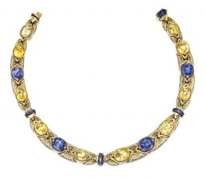 Lot 21 - 18k Gold, Sapphire, Diamond and Peridot Necklace, Bulgari