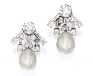 Lot 114 - Pair of Platinum, Natural Pearl and Diamond Earclips