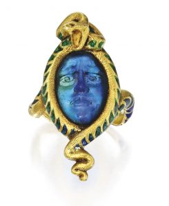 Lot 151 - 18k Gold, Molded Glassand Enamel Medusa and Snake Ring, by René Lalique