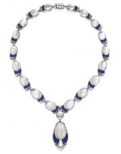 Lot 191 - Platinum, Moonstone, Lapis Lazuli and Diamond Necklace, designed by Louis Comfort Tiffany