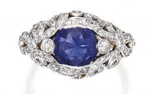 Lot 190 - Platinum, Gold, Sapphire and Diamond Ring, Tiffany & Co
