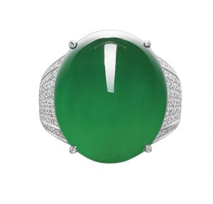 Lot 1765 - Important Jadeite and Diamond Ring