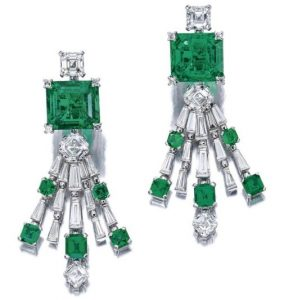 Lot 1709 - Emerald and Diamond Spray Pendant Earrings enlarged