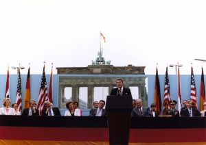 President Reagan's address in front of the Brandenburg Gate of the Berlin Wall, on June 12, 1987