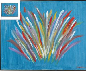 Lot 107 - 4th of July Fireworks - Painting by Frank Sinatra