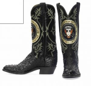 Lot 77 - Pair of American Black Quill Ostrich, Cowhide and Frog Skin Cowboy boots, by Tony Lama Boots, circa 1981