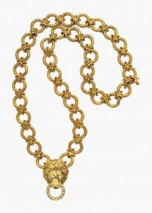 Lot 162 -Diamond and Gold Lion Pendant Brooch Necklace