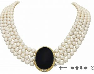 Lot 131 - Onyx and Four Strand Cultured Pearl Necklace