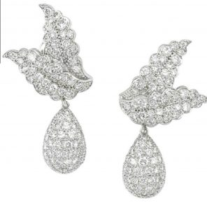 Lot 154 - Pair of Platinum and Diamond Ear Pendants