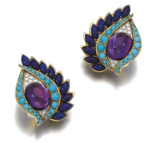Lot 209 - Pair of Gem-set and Diamond Ear-clips, Cartier 1960s