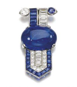 Lot 80 - Sapphire and Diamond Clip, Circa 1930