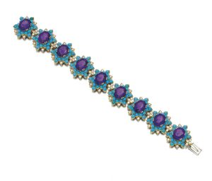 Lot 210 - Gem-set and Diamond Bracelet, Cartier, 1960s