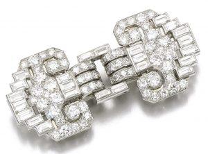 Lot 79 - Diamond Double-Clip Brooch, Cartier 1930s