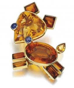 Lot 257 - Citrine and Sapphire Brooch, Cartier 1940s.