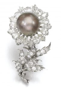 Lot 72 - Natural Pearl and Diamond Brooch, by Buccellati, 1960s