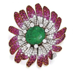 Lot 221 - 18k Gold, Platinum, Emerald, Colored Stone and Diamond Brooch, Bulgari