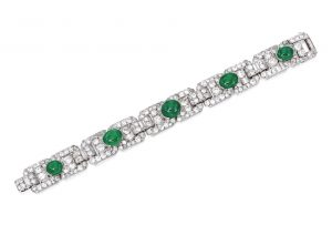 Lot 84 - Platinum, Emerald and Diamond Bracelet, Cartier, France