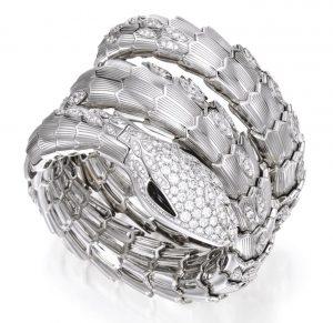 Lot 136 - 18k White Gold, Diamond and Onyx, Serpenti Wristwatch by Bulgari