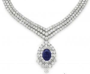 Lot 84 - A Sapphire and Diamond Pendant Necklace