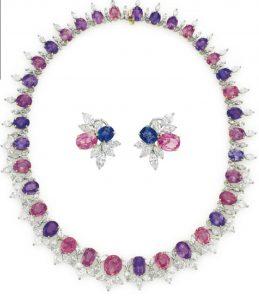 Lot 226 - Set of Sapphire, Multi-Colored Sapphire and Diamond Jewelry