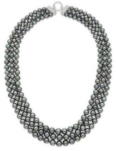 Lot 164 - A Three-Strand Gray Cultured Pearl And Diamond Necklace