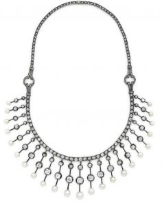 Lot 194 - An Antique Diamond and Seed Pearl Necklace