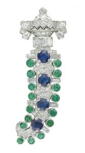 Lot 247 - An Art Deco Diamond, Sapphire and Emerald Brooch by Charlton