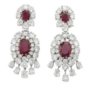 Lot 110 - A Pair of Ruby and Diamond Ear Pendants, by Van Cleef & Arpels