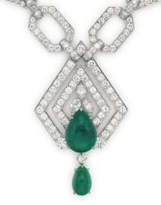 Lot 121 - The suspended plaque of the emerald and diamond sautoir enlarged