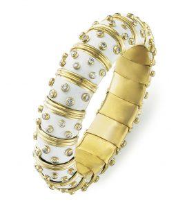 Lot 47 - An Enamel And Diamond Bangle Bracelet, By Jean Schlumberger, Tiffany & Co